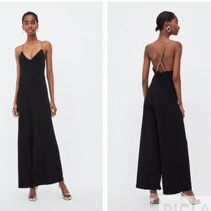 Zara black jumpsuit with contrasting straps